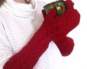 RESERVED for RuthM - Alpaca Mittens Long Arm Warmers in Pink