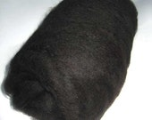 Natural Jet Black Alpaca Fiber Batt 2oz Spinning Felting Drum Carded TDF dye free