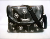"iSacha Purse - designed to carry your iPad in style - ""Black Dandelions"""