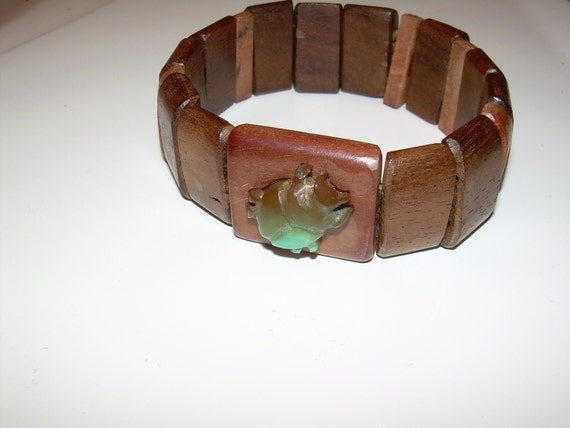 Hawaiian wood stretch bracelet with turquoise scarab