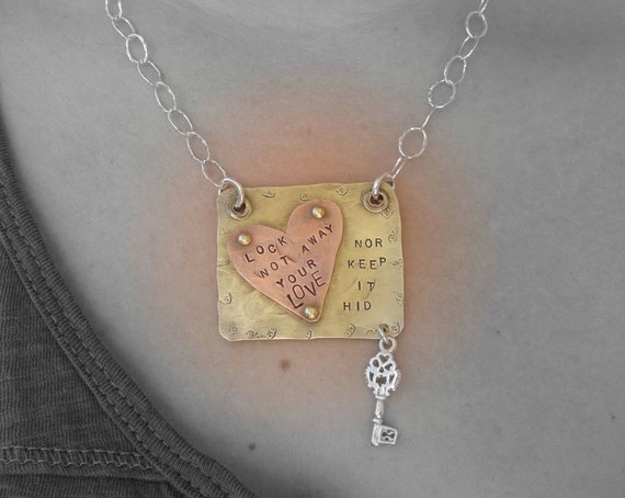 Lock your love-handstamped-riveted-key-necklace