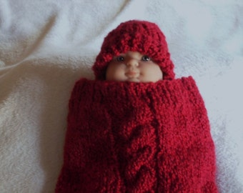 PATTERN - Knit Cabled Baby Cocoon & Hat Pattern