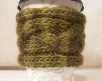 PATTERN - Cup Cozy Sleeve Knitted Braided Cable - easy & fast