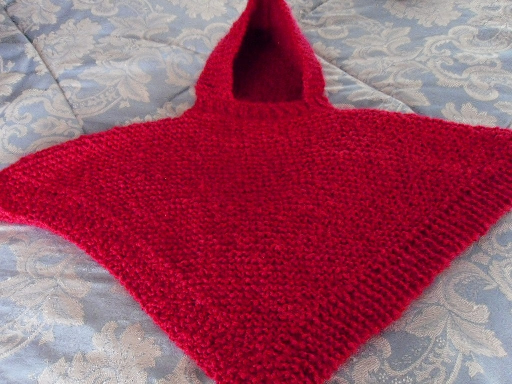 PATTERN Knit Hooded Baby Poncho size 6 months to 2 years