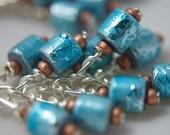 Metallic Light Blue and Copper Glass Fringe Earrings