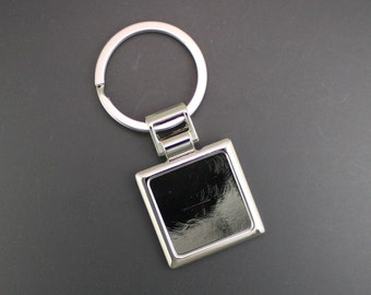 Square Key Ring Key Fob Finding, 10 Pieces