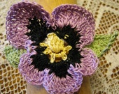 Hand Crocheted Lavender Pansy Hair Tie