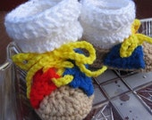 Hand Crocheted Baby Bowling Bootie Shoes