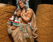 Hand Painted Ceramic Native American Hiawathas Wedding Statue