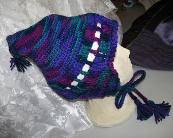 HandCrocheted Snow Boarding Purple Blue Teal Hat Ear Flaps