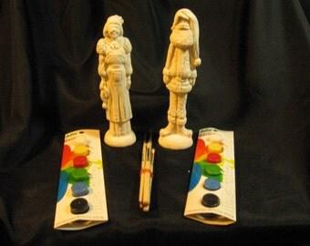 U-Paint Ceramic Bisque Santa Pencil Statues and paint Kits