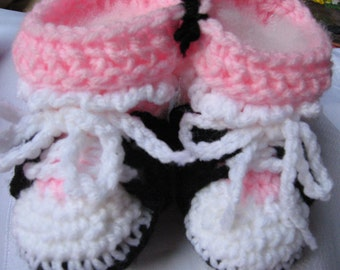 White Black Pink Crocheted Baby MaryJane Booties Saddles Oxfords