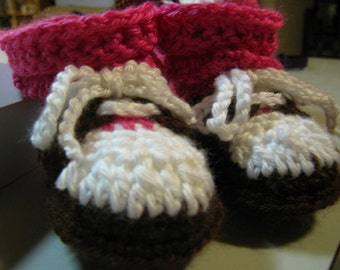 White Brown Crocheted Baby MaryJane Booties Saddles Oxfordsw Hot Pink Stockings