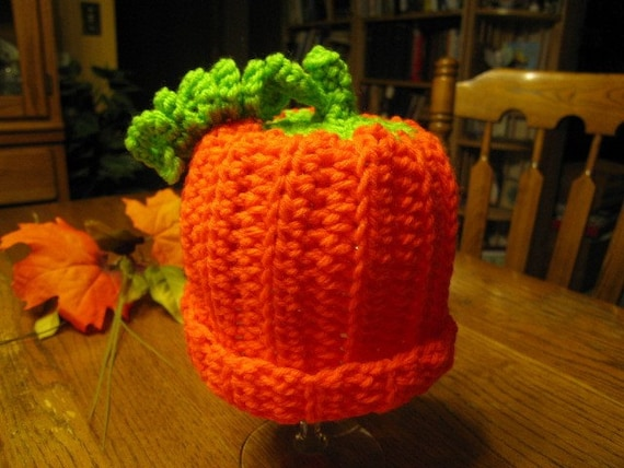 Hand Crocheted Orange Pumpkin Baby Hat w Green Vine and Stem