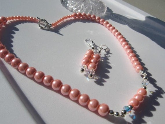 Bridal Pink Glass Pearl Beaded Necklace Caprice Style 7