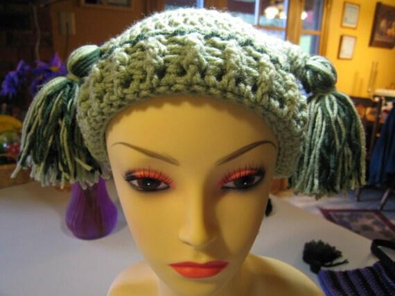 Hand Crocheted Childs Double Tassel Jester Hat in Green