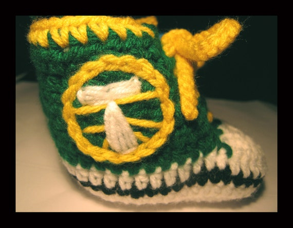Hand Crocheted Portland Timbers Inspired High Top Baby Booties Green n Yellow