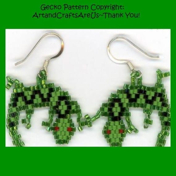 Green Gecko Original Earrings Hand Made Seed Bead Woven