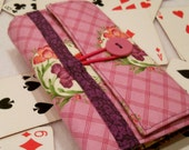 Purple Pink Bouquet Playing Card Wallet