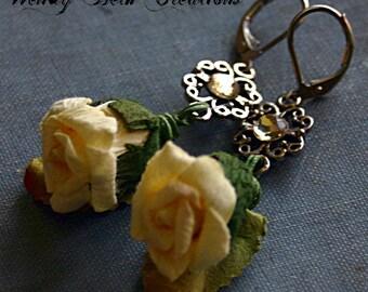 Lemon Yellow Paper Rose Earrings with Rhinestone Accent - Romance, Boho, Fairy, Elegant, Wedding