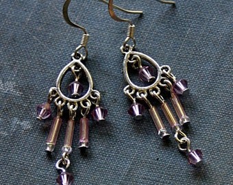 Blush Pink Crystal Chandelier Earrings