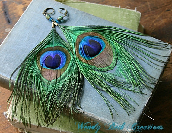 Peacock Feather Earrings with Glass Beads