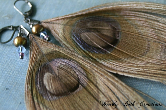 Feather Earrings, Tawny, Tea Dyed, Peacock, Cruelty Free Feather, Vegan, Pearl, Blue, Crystal - Overstock Sale 20% Off