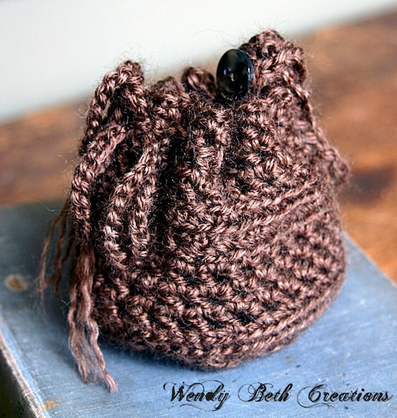 Crocheted Wristlet Pouch for Zills or Cell Phone - Small Brown