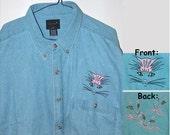 Denim Shirt, Womens Clothing, Mens Clothing, Embroidered Shirt, Cat