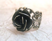 Steampunk Rose Ring - Jet Black Swarovski Crystal - Neo Victorian Gold Tone Filigree Jewelry - Handmade and Designed by A Second Time