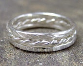 Sterling Silver Stacking Rings - Set of Three - Florentine Twist - Textured Bands - Wedding Bands - Friendship Rings - Band Set of 3