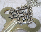 Vintage Clock Key Pendant - Steampunk and Neo Victorian Era Inspired Jewellery - Handmade and Designed by A Second Time