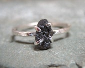 Rough Diamond Solitaire and Sterling Silver Stacking Ring - Silver Artisan Jewellery - Handmade and Designed by A Second Time
