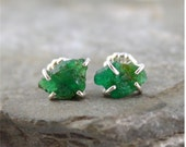Uncut Raw Rough Emerald Earrings - Sterling Silver Stud Style - Rustic Oval Shape - Handmade and Designed by A Second Time