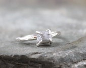 Uncut Rough Diamond Solitaire Stacking or Engagement Ring  -   Sterling Silver Artisan Jewellery - Handmade and Designed by A Second Time
