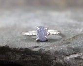 Uncut Raw Rough Powder Blue Sapphire Ring - Sterling Silver Solitaire  -  Artisan Jewellery - Handmade and Designed by A Second Time