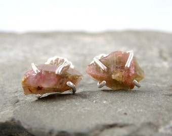 Raw Bi Color Tourmaline Earrings - Sterling Silver Earrings - Pink & Green Tourmaline - Pierced Earrings - October Birthstone - Raw Gemstone