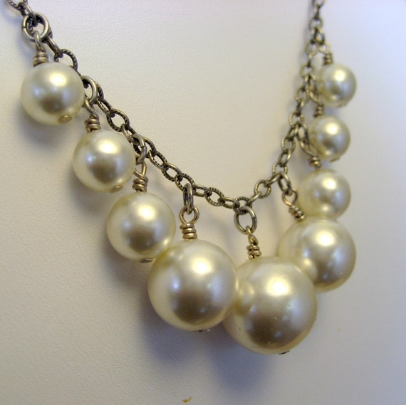Repurposed Vintage Faux Pearl Cascade Necklace - Handmade and Designed by A Second Time