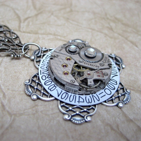 Steampunk Necklace -  Each Day  - Neo Victorian Inspired Vintage Repurposed Watch Movement Jewelry - Designed and Handmade by A Second Time