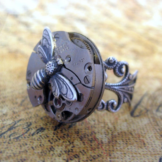 Steampunk Ring - The Buzz - Neo Victorian Silver Tone Filigree - Vintage Repurposed Watch Movement Jewellery - Handmade and Designed by A Second Time