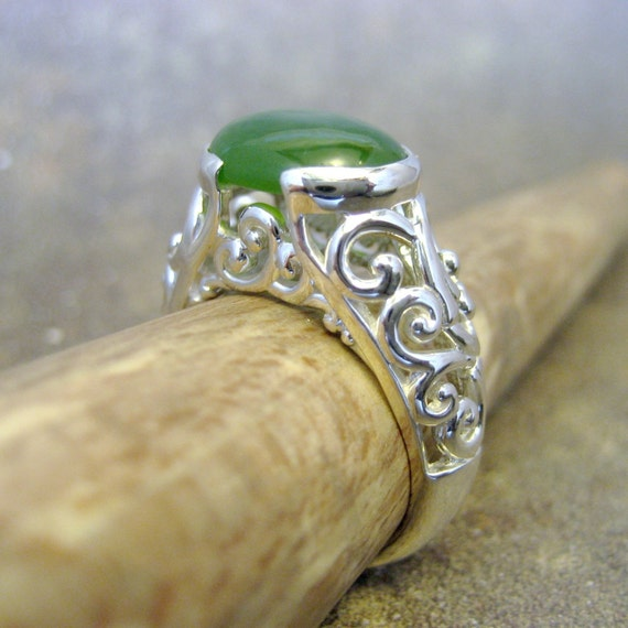 Sterling Silver and Jade Ring - Neo Victorian Filigree - Hand Made Silver Artisan Jewellery - by A Second Time