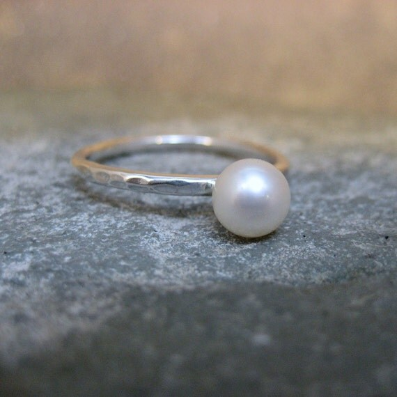 Sterling Silver Classic Ring With Cultured Pearl - Handmade Artisan Jewellery - Designed by A Second Time