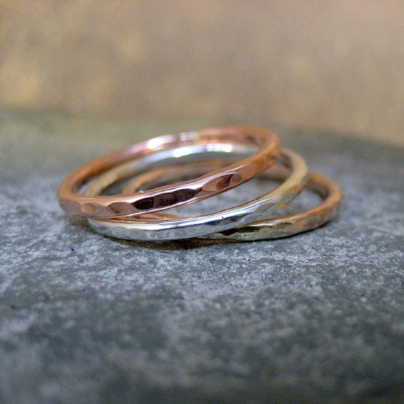 Set of 3 Stacking Rings - Sterling Silver - Copper - 14K Yellow Gold Filled - Handmade Artisan Jewellery - Designed by A Second Time
