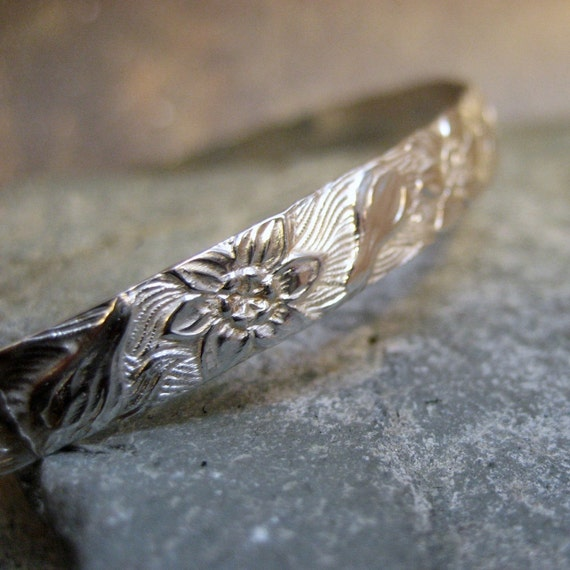 Sterling Silver Lei Bangle Bracelet - Hand Made Silver Artisan Jewelry - Designed by A Second Time