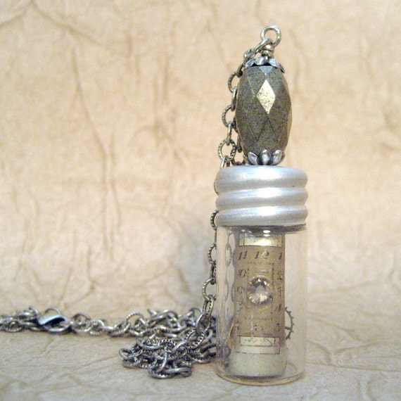 Time in a Bottle - Pyrite - Steampunk Neo Victorian Inspired Jewelry - Vintage Repurposed Watch Dial and Parts - Handmade and Designed by A Second Time