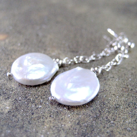 Classic White Fresh Water Coin Pearl and Sterling Silver Earrings - Artisan Jewelry Handmade and Designed by A Second Time