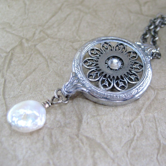 Elegant Steampunk Necklace - Repurposed Engraved Detail Watch Bezel Jewelry - Neo Victorian Antiqued Silver Tone Filigree - Handmade and Designed by A Second Time