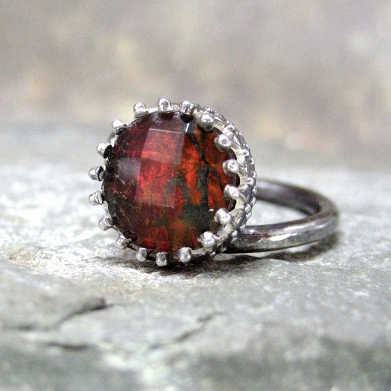 Ammolite Ring with Red Flash set in Sterling Silver Crown Bezel - Silver Artisan Jewelry Handmade and Designed by A Second Time