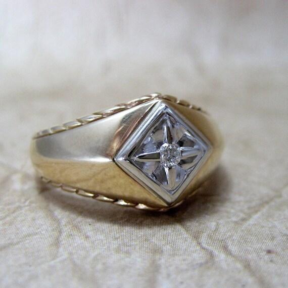 Men's Vintage Genuine Diamond Ring - 10K Yellow Gold - Circa 1980