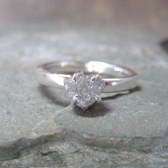 One Carat Rough Diamond Solitaire and Sterling Silver Ring -  Artisan Jewellery - Handmade and Designed by A Second Time